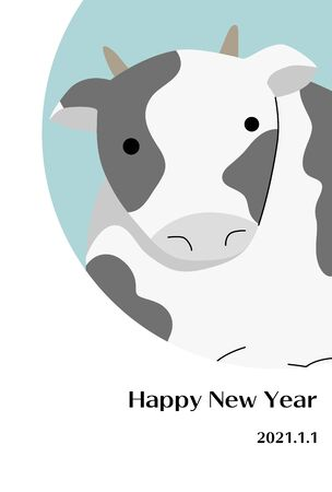 New Year's card illustration with Holstein cow close up.