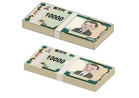Illustration of a new stack of 10,000 yen bills with and without lines. Japanese character is