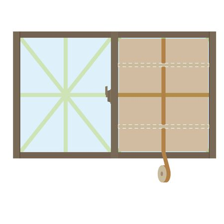 Illustration of a window being reinforced with cardboard.