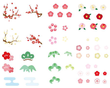 Illustration set of various Shochiku Ume parts Stock Illustratie