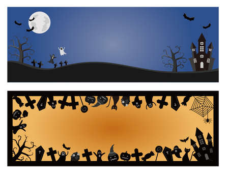 Two kinds of background illustrations for Halloween.