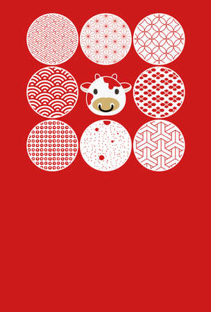 New Year's card illustration with eight circular cutouts of cow icons and Japanese patterns.