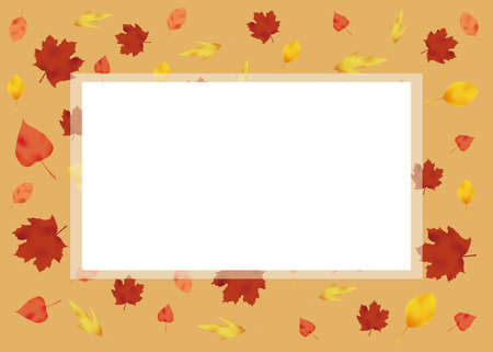 background of autumn leaves with a blank space in the middle.
