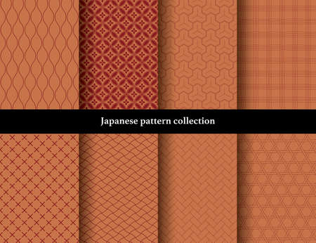 Japanese traditional continuous pattern set