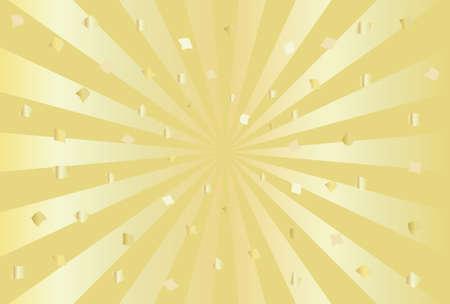 Celebration, confetti, radial background illustration (gold).
