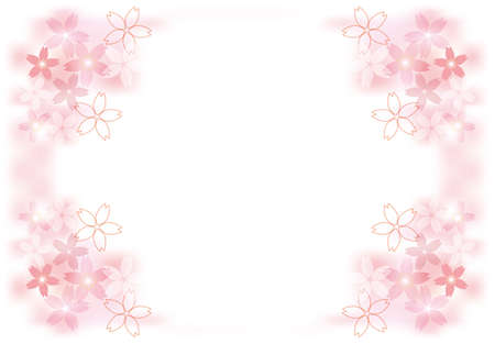 Background illustration with cherry blossoms and blur.