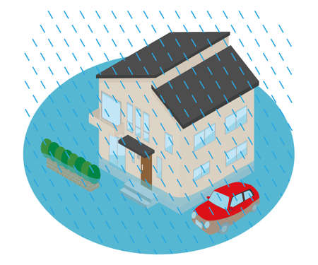 Illustration of a house flooded by too much rain.