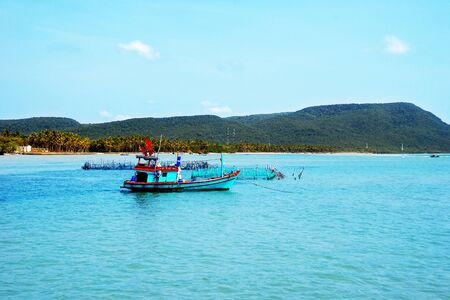 anchoring: Anchoring boat on the Phu Quoc island, Vietnam.