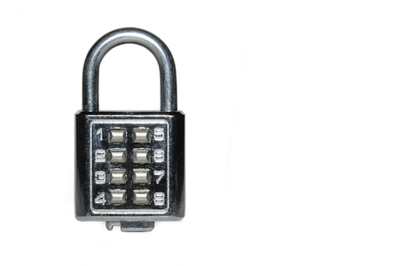 secrete: Key press number lock isolated on a white background