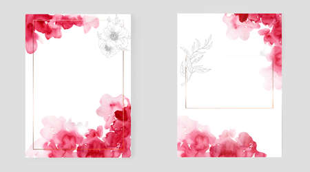 Template for design. Watercolor background with flowers Imagens