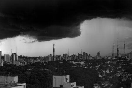 Tempestuous scenario in black and white at St Paulo - Brazil.