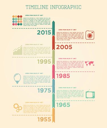 Retro Timeline Infographic vector design template Vector