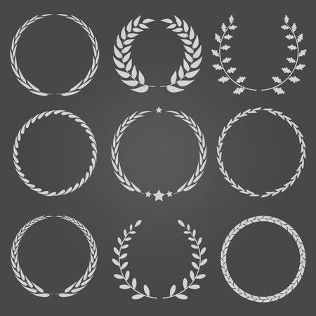 wreaths: Set of nine vector laurel wreaths