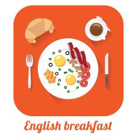 english breakfast: Flat vector long shadow illustration of english breakfast