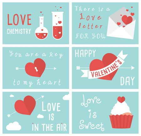amore: Set of modern flat design illustrations of Valentines day greeting cards
