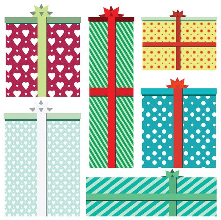 to present: Vector gift boxes icons isolated on white background