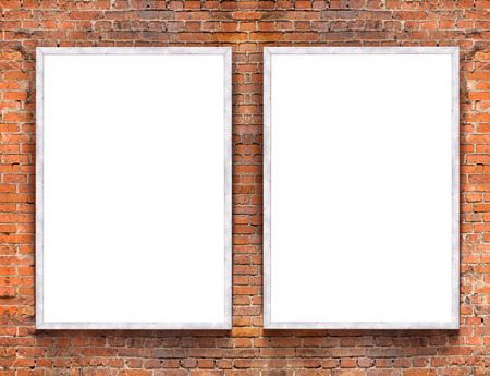 frame: Two blank banners with wooden frame on brick wall background Stock Photo