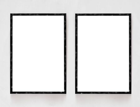 info board: Two blank banners with wooden frame on plaster wall background