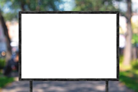sign board: Blank banner with wooden frame on unfocused street background Stock Photo