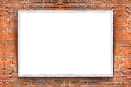 brick wall: Blank banner with wooden frame on brick wall background