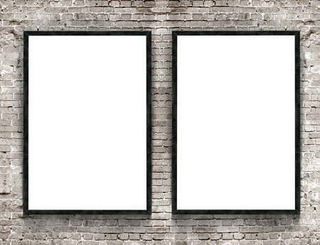 Two blank banners with wooden frame on brick wall background Stock Photo