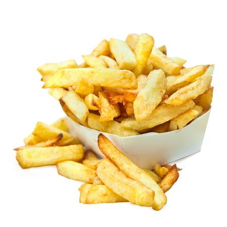 frites: Belgian french fries isolated on white background
