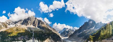 rhone: Panoramic view of Chamonix-Mont-Blanc Stock Photo