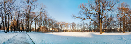 michael: Panoramic view of Michael (Mikhaylovsky) Garden in sunny winter day in Saint Petersburg. Russia Stock Photo