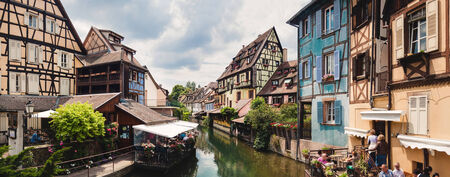 colmar: Panoramic view on canal in Petite Venice neighborhood of Colmar, France Stock Photo
