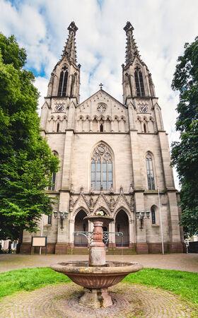 evangelist: Panoramic view on Evangelist Town Church in Baden-Baden. Europe, Germany