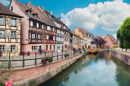 colmar: Panoramic view on canal in Petite Venice neighborhood of Colmar, France Editorial
