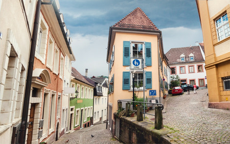 Panoramic view on Baden Baden street, Germany