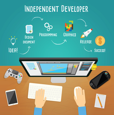 Independent game developer vector illustration Illustration