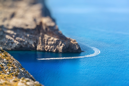 mallorca: Closeup view of rocks of Cap de Formentor. Mallorca, Spain. Miniature tilt shift lens effect. Stock Photo