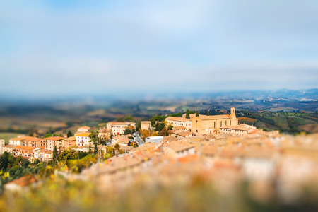 Panoramic view from San Gimignano, Tuscany, Italy. Miniature tilt shift lens effect. Stock Photo