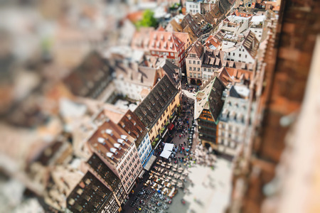 Strasbourg houses. View from the top of the cathedral. France. Miniature tilt shift lens effect.