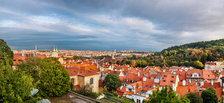 Aerial panoramic view of Prague, Czech Republic on a sunny evening.