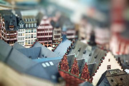 Old traditional buildings in Frankfurt, Germany. Miniature tilt shift lens effect.