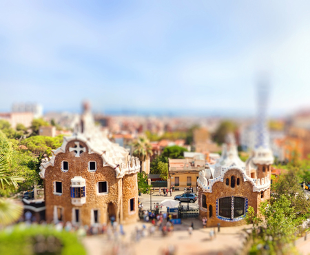 Panoramic view of the Park Guell by architect Antoni Gaudi. Miniature tilt shift lens effect. Barcelona, Spain.