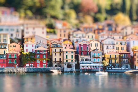 View of Varenna town. Lake and mountains. Como Lake, Italy. Miniature tilt shift lens effect.