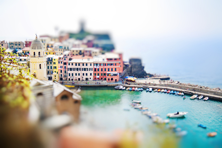 Panoramic view of Vernazza in Cinque terre, Liguria, Italy. Miniature tilt shift lens effect.