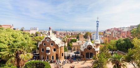 Panoramic view of the Park Guell by architect Antoni Gaudi in Barcelona, Spain. Archivio Fotografico