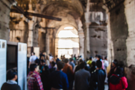 Blurred unfocused picture of tourists in Coliseum. Rome. Italy Archivio Fotografico