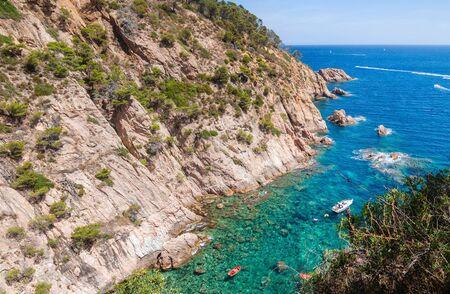 View on the coast and the sea in Costa Brava. Tossa de Mar, Catalonia, Spain.