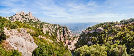 Panoramic view of Montserrat mountain. Catalonia. Spain
