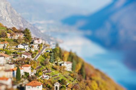 Panoramic view on Monte Bre, Lugano, Switzerland. Miniature tilt shift lens effect.