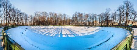 Panoramic view of the Summer garden in winter in Saint Petersburg, Russia