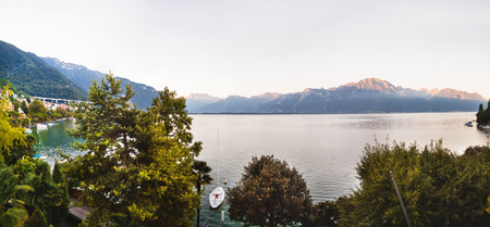 Panoramic view of Montreux, Alps and Geneva lake in  Switzerland Stock Photo - 83717698