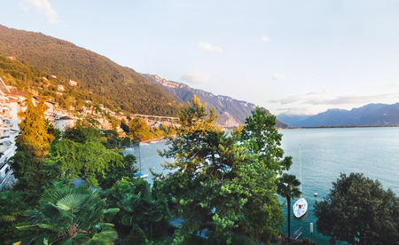 Panoramic view of Montreux, Alps and Geneva lake in  Switzerland