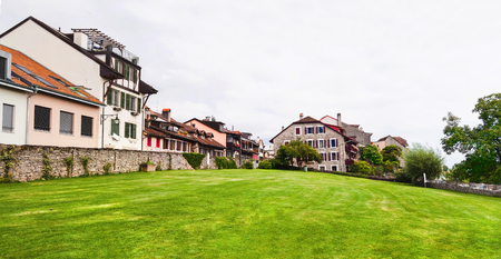 Panoramic view of green lawn in Vevey,  Switzerland Stock Photo